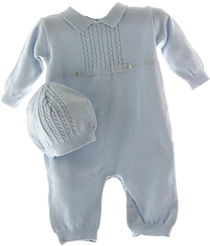 (Boys Blue Knit Take Home Layette Set with Hat (NB))