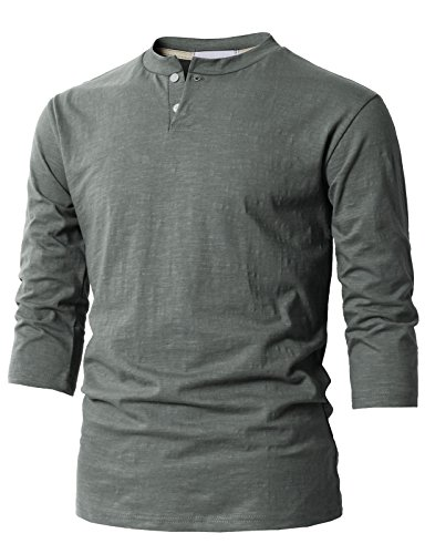 H2H Mens Fashion Casual Front Placket Basic Henley T-Shirts Gray US 2XL/Asia 3XL (KMTTS0548)