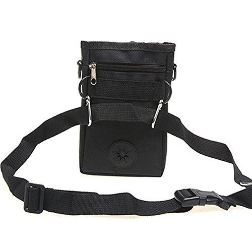 Mengshou Dog Treat Training Pouch Easily Carries Pet Toys, Keys, Treats,Kibbles,Built-In Poop Bag Dispenser,3 Ways To Wear Adjustable Shoulder Belt (Black) by Mengshou (Image #1)