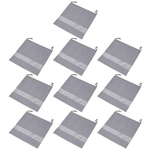 (Echaprey 10Pcs Non Woven Fabric Drawstring Bag Dust Cover Breathable Dust Proof Bags with Perspective Clear Window Medium (Gray))