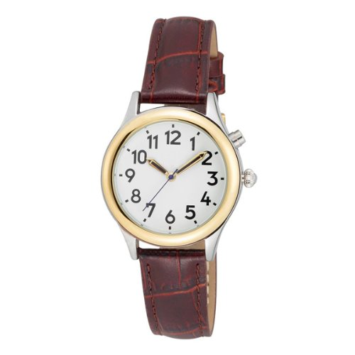Black Two Tone Pocket Watch (Two Tone Ladies ila Talking Watch White Face Choice of Voice- Leather Band)