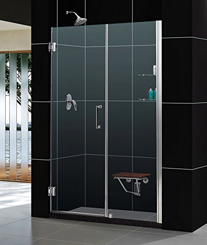 DreamLine Unidoor 57-58 in. Width, Frameless Hinged Shower Door, 3/8' Glass, Brushed Nickel Finish