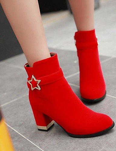 2 Stiefel us4 red XZZ Modische 5 Rot Blockabsatz 5 cn33 4 Kleid eu34 uk2 Rundeschuh Stiefel Schwarz Damen Kunstleder 5PvPa