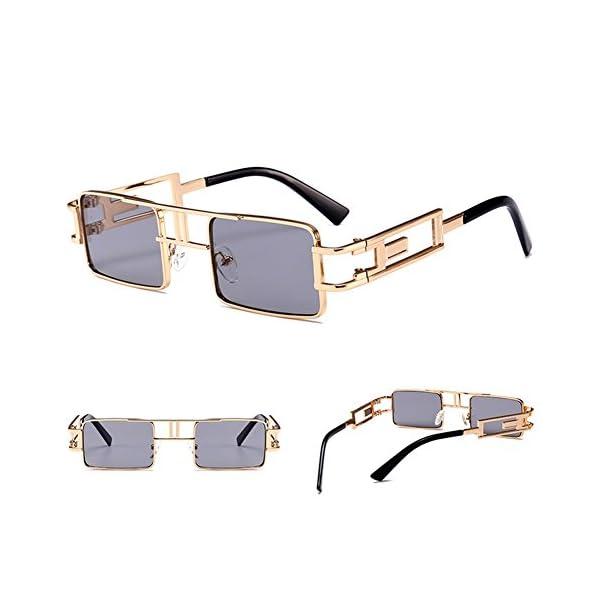 Steampunk Rectangular Sunglasses Men Gold Black Red Flat Top Square Sun Glasses 4