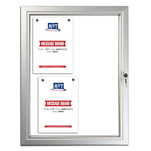 Enclosed Bulletin Board with Locking Door for Outdoor Use, Magnetic Backing, 4X(8.5x11) - Silver Aluminum Weatherproof Notice Board