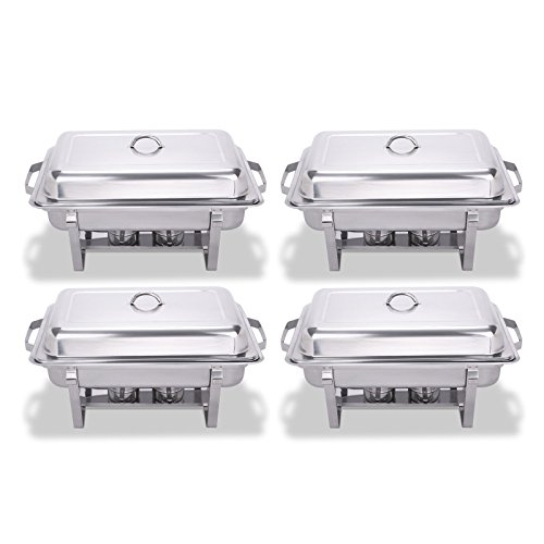 FoodKing Chafing Dish Stainless Steel Chafer Full Size 8 Quart Chafing Dishes for Catering Buffet Warmer Tray Kitchen Party Dining, Set of 4