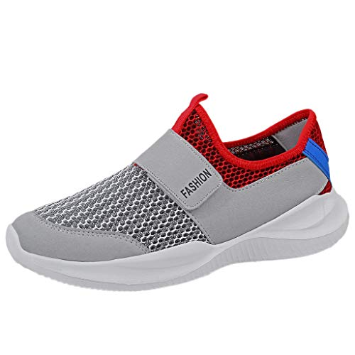 - Sunhusing Men's Casual Breathable Mesh Gauze Lightweight Sneakers Wear Non-Slip Openwork Running Shoes Gray