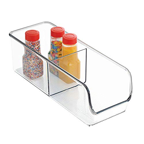 InterDesign Linus Kitchen, Pantry, Refrigerator, Freezer Storage Container-Divided 2 Compartment, Clear