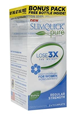 Slimquick Pure Regular Strength, Lose 3x the Weight, 2x72 Capsules