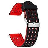 gear watch neo - Moretek Smart Watch Replacement Strap Bands Wristband Silicone Band for Fitbit Versa,Samsung GALAXY Gear2 Neo R380 Gear 2 /Huawei Watch 2 Classic / LG G Watch W100/W110/Garmin Vivomove(BlackRed, 22mm)
