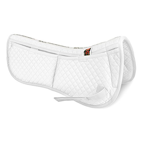 Contour Dressage Pad - ECP Cotton Correction Half Saddle Pad - Memory Foam Pockets - White