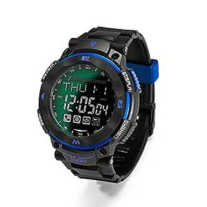 Youngs PS1503 - Smartwatch Deporte Reloj Electríco (Impermeable 100M, Compatible con Android iOS , Bluetooth, Alerta Inteligente, Despertador), Azul
