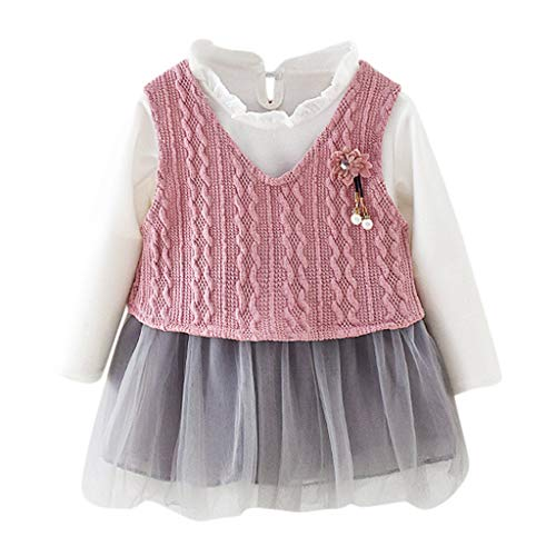 Toddler Long Sleeve Tulle Dress 2 Pcs,Crytech Solid Color Long Sleeve Princess Tutu Pageant Wedding Party Gown with Knit Tank Vest Jacket Outwear Outfits for Baby Girl (3-4 Years, Pink)