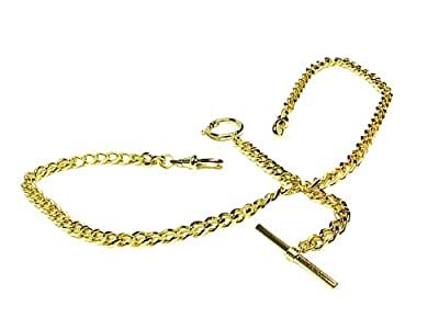 Old Father Time GOLD Double Albert Pocket Watch Chain-916Y