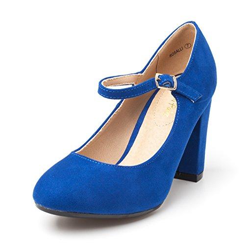 DREAM PAIRS Women's ROSALLI Royal Blue High Chunky Heel Pump Shoes - 6.5 B(M) US