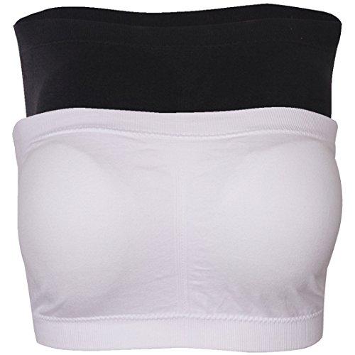(Fasoar Women's Bra, Women's Plus Size Seamless Padded Bandeau Tube Top Bra Pack of 2 Black & White)