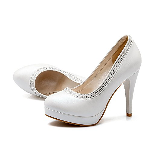 Material Soft Round Pumps Solid Closed on WeenFashion White High Heels Shoes Pull Women's Toe wqtxtI1p8