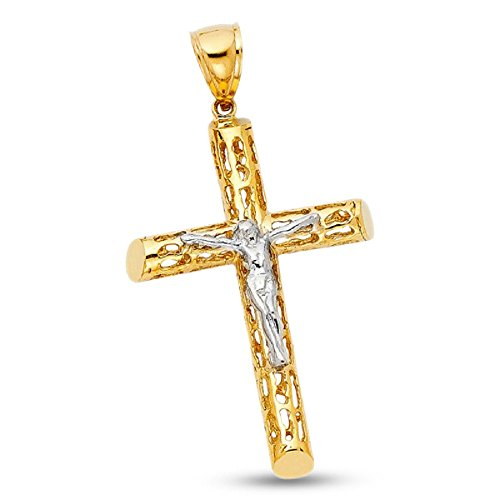 Solid 14k Gold Religious Christ Charm Jesus Hip Hop Cylinder Style Cross Crucifix Pendant Faith Design 48 mm x 32 mm by ZenJewels