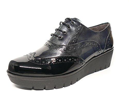 Zapatos mujer plataforma cuña muy cómodo, marca PITILLOS - plantilla extraible - disponible en charol negro combinado gris y charol negro combinado burdeos, tipo OXFORD - 1901 - 554 varios_colores