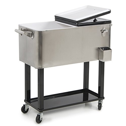 Belleze 014-HG-14144 FBA_014-HG-14144 80-Quart Portable Rolling Chest Cooler Cart Patio Party Drink Ice, Stainless Steel