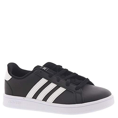 adidas Unisex Grand Court Wide Sneaker, Black White, 4 W US Big Kid