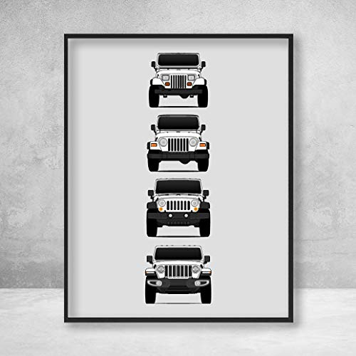 Jeep Wrangler Poster Print Wall Art of the History and Evolution of the Wrangler Generations (Car Models: YJ, TJ, JK, JL)