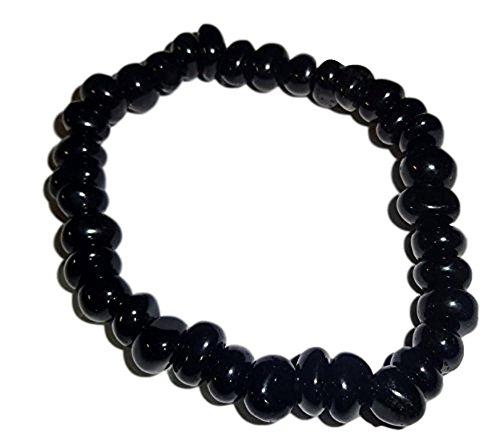 - 1pc Black Obsidian Style #2 Premium Quality Tumbled Crystal Healing Gemstone 4-6 Mm Nugget Beaded Stretch Bracelet