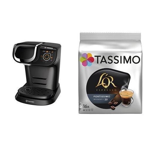 Bosch TAS6002 Tassimo My Way (color negro) + Pack café 5 paquetes (80 cápsulas) Tassimo LOR Espresso Fortissimo