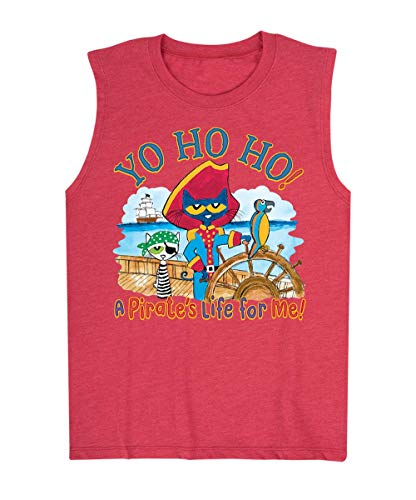 Pete the Cat PTC Pirate Yo Ho Ho - Toddler Muscle Tank Heather Red