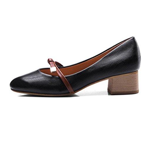 Giy Dames Mary Jane Instappers Loafers Pumps Schoenen Kwastje Vierkante Teen Blok Hak Jurk Oxford Pump Zwart