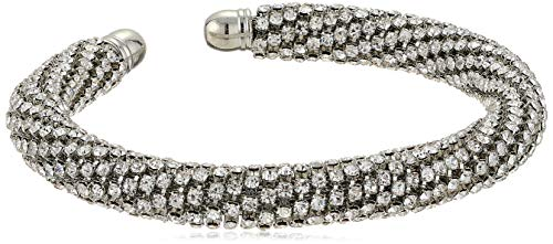 (GUESS Women's Rhinestones Bangle with Stones, Silver, One Size )