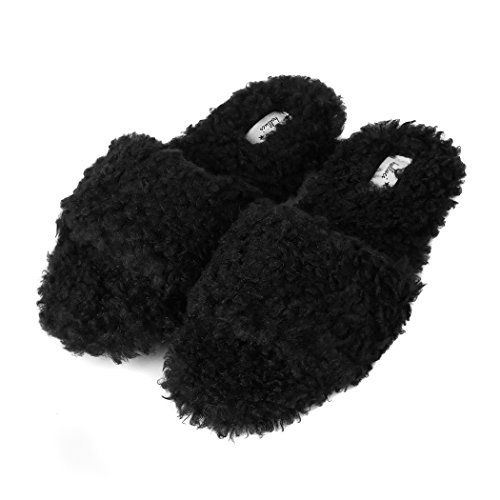 Halluci Womens Cozy Plush Fleece Memory Foam House Slippers w/Non Slip Soles Black 7JC0O1