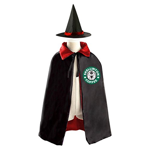[DBT Kellinton Nightmare-before-christmas Logo Childrens' Halloween Costume Wizard Witch Cloak Cape Robe and Hat] (Mayor Costume Child)