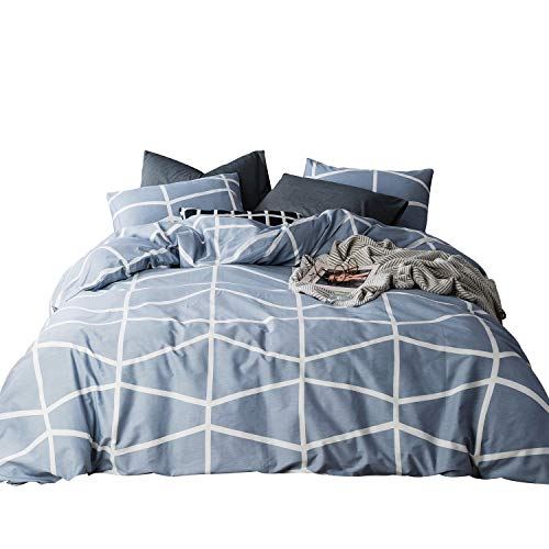 SUSYBAO 3 Piece Duvet Cover Set 100% Natural Cotton King Size Plaid Geometric Bedding Set with Zipper Ties 1 Duvet Cover and 2 Pillowcases Hotel Quality Soft Durable Comfortable Breathable,Blue White