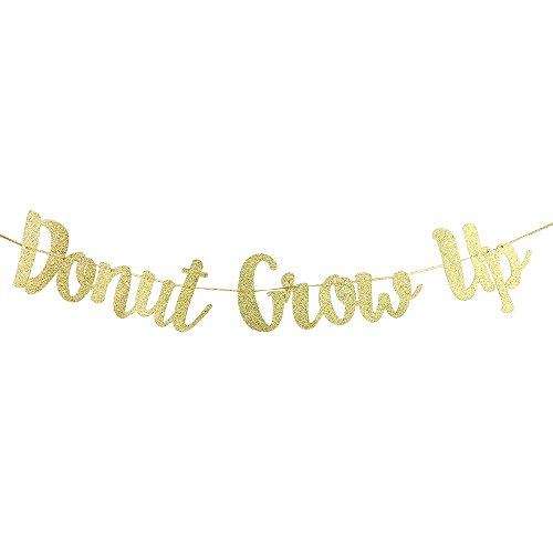 Karoo Jan Donut Grow Up Banner Gold Glitter Happy Birthday Baby 1st Birthday Party Decoration Bunting Photo Props Themes Party Supplies