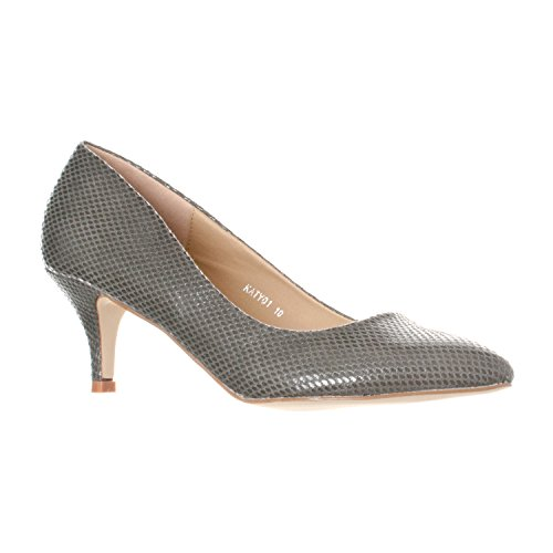 Riverberry Women's Katy Pointed, Closed Toe Low, Kitten Heel Pumps, Grey Snake, 7 Charles High Heel Pumps