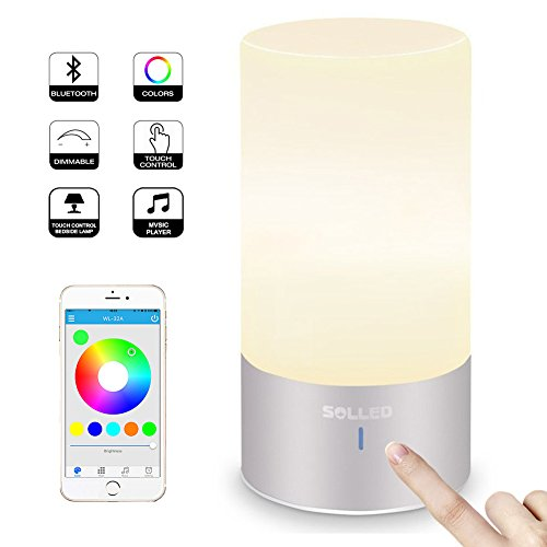 SOLLED LED Table Lamp with Bluetooth Speaker, Smart APP Atmosphere Light, Sensor Touch Bedside Lamp, Dimmable Warm White & RGB Color Changing Night Light