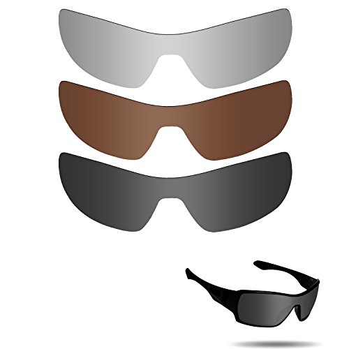 Fiskr Anti-saltwater Polarized Replacement Lenses for Oakley Offshoot Sunglasses 3 Pair - Sunglasses Offshoot