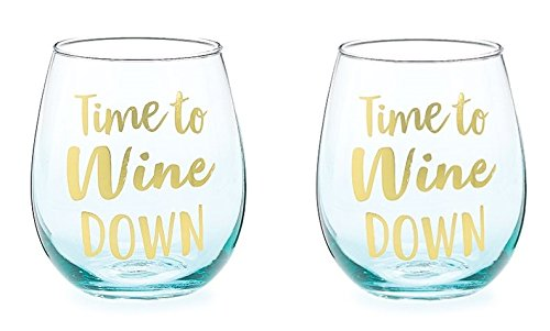 - Time To Wine Down Funny Novelty Wine Glasses For Women Unique Stemless Fun Wine Lovers 16 Ounce Set of 2 Blue