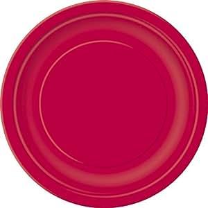 Ênico - Conjunto de 20 platos de papel redonda, ?? ภ18 cm, rojo