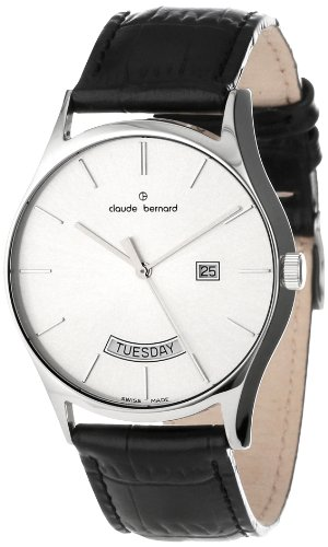 Claude Bernard Men's 84004 3 AIN Classic Gents Silver Dial Day-Date Leather Watch