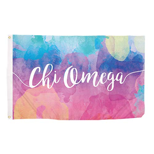 Chi Omega Water Color Sorority Flag Greek Letter Use as a Banner Large 3 x 5 Feet Sign Decor chi ()