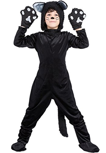 (Honeystore Kid's Cute Cat Pajamas Halloween Jumpsuit Cosplay Costume Black)