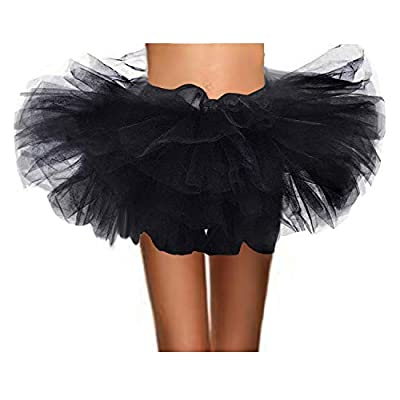 ASSN Women's Classic 80s Mini Puffy Tutu Halloween Run Bubble Ballet Skirt 6-Layered