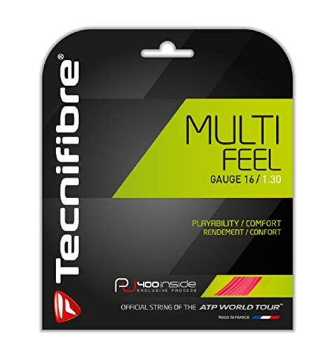 Tecnifibre Multifeel - 16 Gauge in Pink Color - Multifilament Tennis Racquet String Sets 2-Pack (2 Sets Per Order) - Best for Comfort and Feel ()