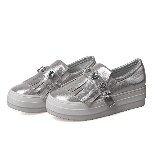 Round On Pull Toe Pumps Solid Silver Closed Pu WeiPoot Shoes Heels High Women's w1ISX