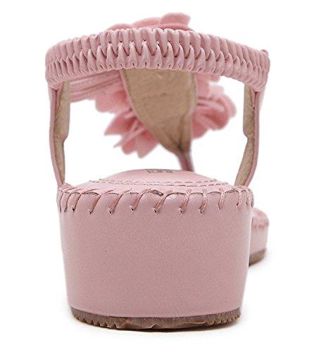 Minetom Mujer Casual Thong Sandalias Bohemia Chancletas T-Correas Dedo Del Pie Clip Chanclas Dulce Flores De Playa Rosa