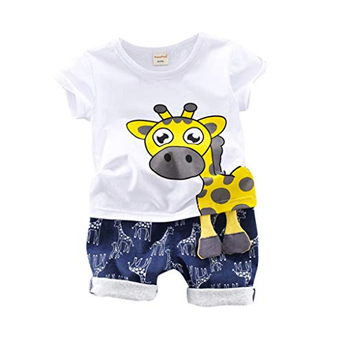 2Pcs Baby Boy Clothes Short Sleeve Giraffe Print T-Shirt Pants Outfits Set Toddler Baby Kids Boys Playwear Set (Age:2-3 Years, White)