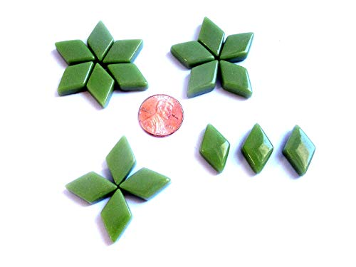 50 Light Green Diamond Shape Glass Mosaic Tiles Pieces Supplies from Shining Eye Arts