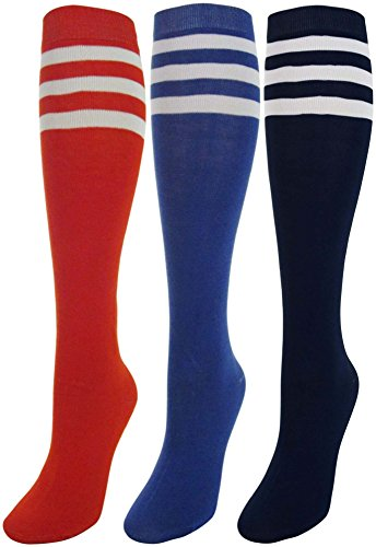 J.Ann 3 Pair/Pack Ladies Knee-High Socks, Solid Color With 3 White Color Stripe, Red/R.Blue/Navy